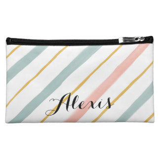 Boho Coral and Teal Stripes Makeup Bag