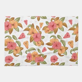 boho Coral Orange Flowers Floral Pattern Hand Towels