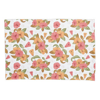 boho Coral Orange Flowers Floral Pattern Pillowcase