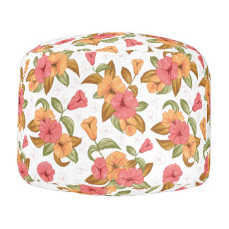 boho Coral Orange Flowers Floral Pattern Pouf