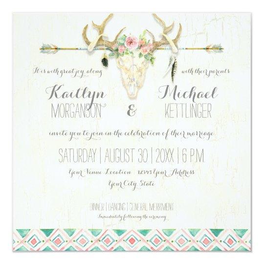 BOHO Country Rustic Floral Deer Skull Antler Arrow Card