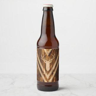 Boho deer on rustic wood beer bottle label