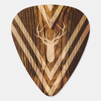 Boho deer on rustic wood guitar pick