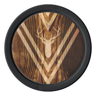 Boho deer on rustic wood poker chips