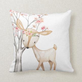 Boho Deer Woodland Floral Baby Nursery Pillow