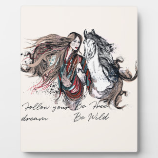 Boho design with girl and horse plaque