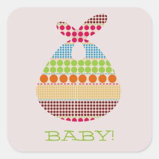 Boho Dots Bundle Neutral Baby Shower Square Sticker