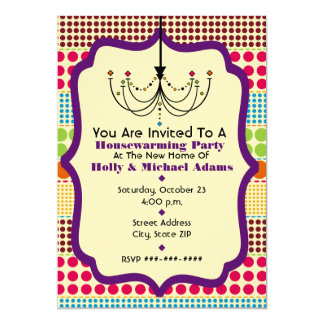 Boho Dots Funky Chandelier Housewarming Party Card