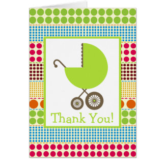 Boho Dots & Green Carriage Baby Shower Thank You Card