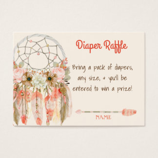 Boho Dream Catcher Baby Shower Diaper Raffle Business Card