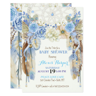 """Boho Dream Catcher Feathers Blue Ivory Brown 5"""" X 7"""" Invitation Card"""