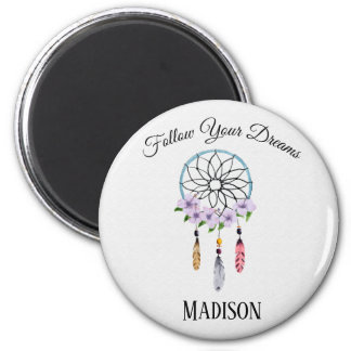 Boho Dream Catcher Floral Flower Feathers Tribal Magnet