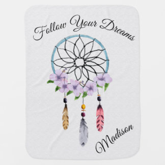 Boho Dream Catcher Floral Flower Personalized Name Baby Blanket