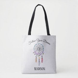 Boho Dream Catcher Floral Flower Personalized Name Tote Bag