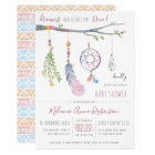 Boho Dream Catcher & Tribal Feathers Baby Shower Card