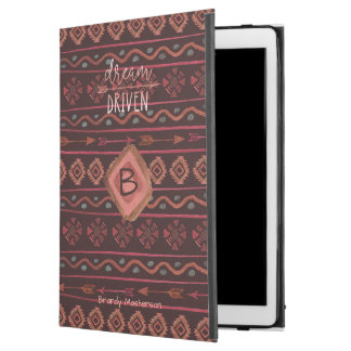 "Boho Dream Driven Tribal Pattern, Monogram & Name iPad Pro 12.9"" Case"