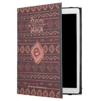 "Boho Dream Driven Tribal Pattern, Monogram & Name iPad Pro 12.9"" Case"