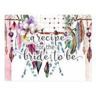 Boho Dreamcatcher & Feathers Bride Recipe Card