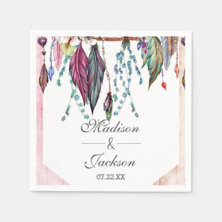 Boho Dreamcatcher & Feathers Pink Monogram Wedding Paper Napkins