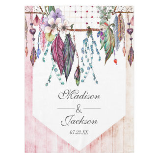 Boho Dreamcatcher & Feathers Pink Wedding Monogram Tablecloth