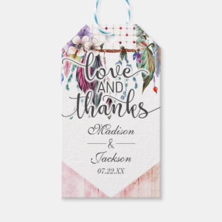 Boho Dreamcatcher & Feathers Wedding Love & Thanks Gift Tags