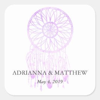 Boho Dreamcatcher Lavender Chic Tribal Wedding Square Sticker