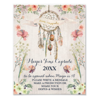 Boho Dreamcatcher Rustic Baby Shower Time Capsule Photo
