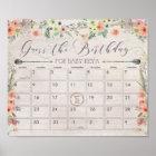 Boho Due Date Calendar Sign Baby Shower Game