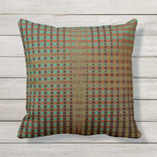 Boho Earthy Psychedelic Copper Turquoise Black Throw Pillow