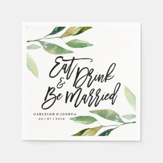 Boho Eat Drink Be Married Wedding Napkin