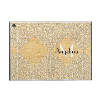 BOHO Faux Burlap n Lace gypsy Modern Style Mod iPad Mini Case