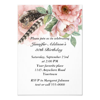 "Boho Feather and Flowers Birthday 5"" X 7"" Invitation Card"