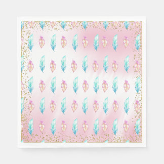 Boho Feather Baby Shower Paper Napkins