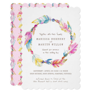 Boho feather beads watercolor pink wedding invites