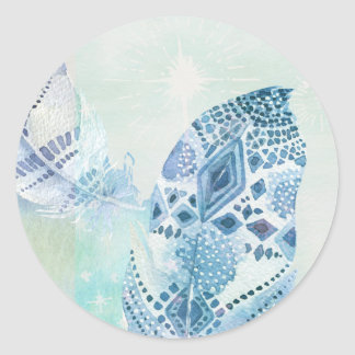Boho Feather Blues Classic Round Sticker