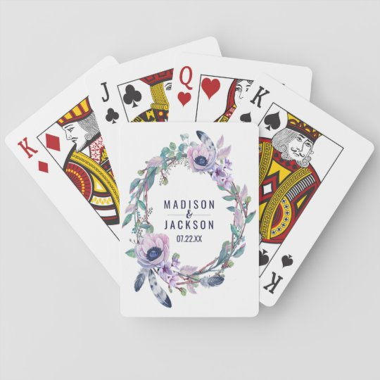 Boho Feather & Floral Wreath Wedding Favour Playing Cards