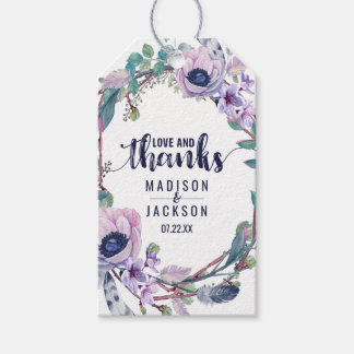 Boho Feather & Floral Wreath Wedding Love & Thanks Pack Of Gift Tags