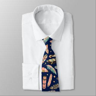 Boho Feather Pattern on Navy Blue Tie