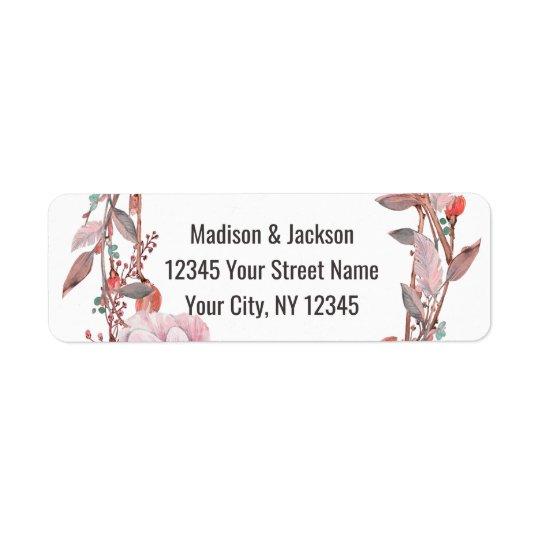 Boho Feather Peach Floral Wedding Return Address Return Address Label