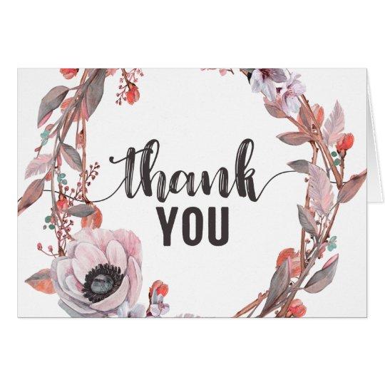 Boho Feather Peach Floral Wreath Wedding Thank You Card