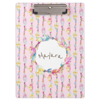 Boho feather watercolor art name pink clipboard