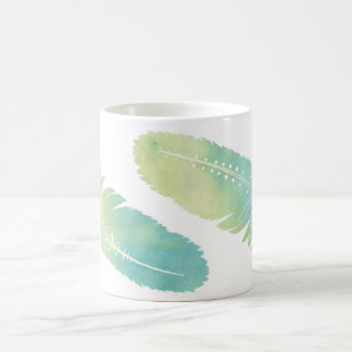 Boho Feather Watercolor Green and Blue Basic White Mug
