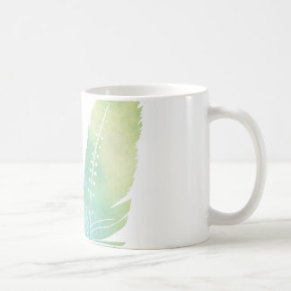Boho Feather Watercolor Green and Blue Coffee Mug