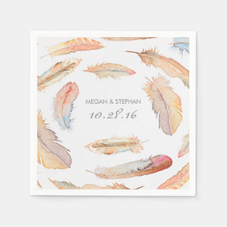 Boho Feather Watercolor Wedding Paper Napkin