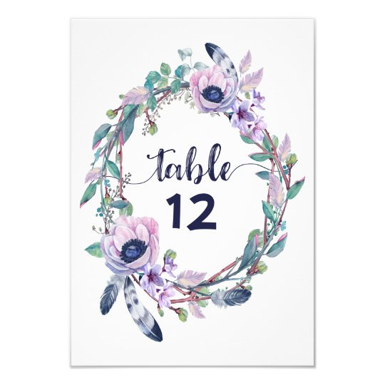Boho Feather Wedding Table Number Seating Chart Card