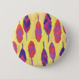 Boho Feathers 2 Inch Round Button