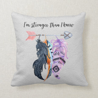Boho Feathers and Arrow Motivational Saying Throw Pillow