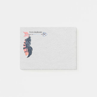 Boho Feathers and Arrow Personalized Post-it Notes