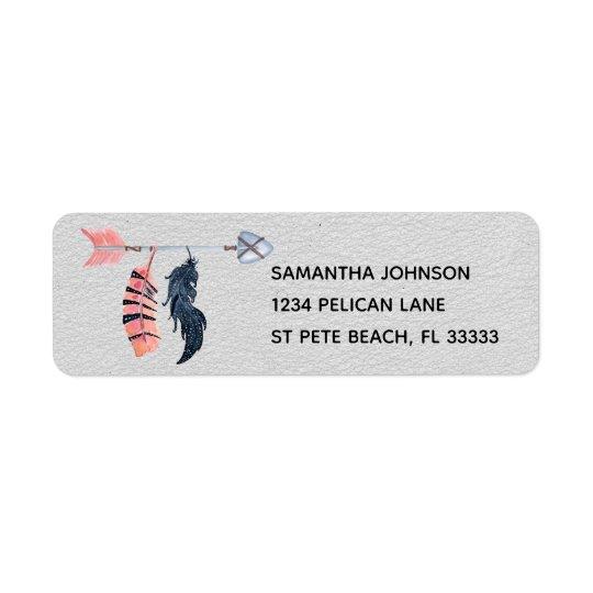 Boho Feathers and Arrow Return Address Label