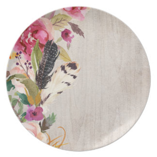 Boho Feathers and Flowers Plate